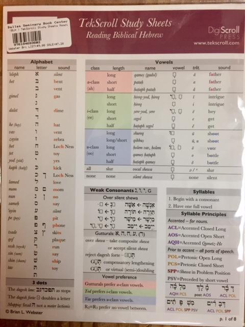 TekScroll Study Sheets Reading Biblical Hebrew   DTS Book Center